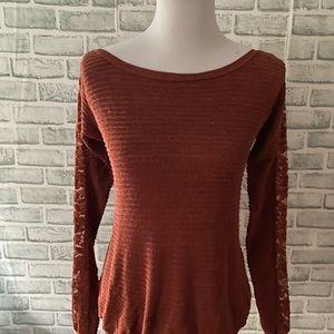 Free People burnt Orange open lace sleeve sweater